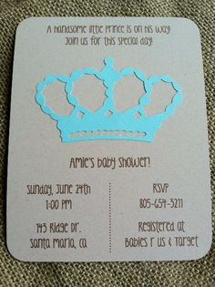 Handsome Prince  Crown  Baby Shower Invitations Boy by kandvcrafts, $2.00