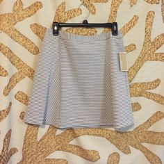 Michael Kors Skirt Super cute and classy! Gray and white striped! Size 6! Michael Kors Skirts Circle & Skater