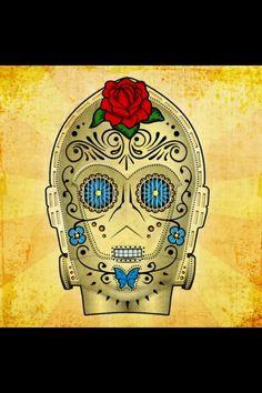 C3PO sugar skull.... Rad.