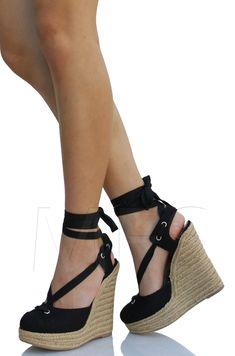 Black Closed Toe Canvas Ankle Wrap Straps Espadrilles Platform Wedge Unit | eBay