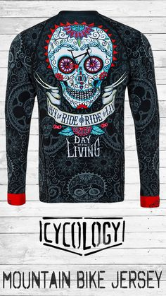 Day of the Living -DIRT - Men's Long Sleeve MTB Jersey - Our best-selling Cycling Skull Art made of MTB parts. Flash a smiling set of Black MTB tyre-teeth as you pedal along , totally experiencing the Day of REALLY Living.  A MTB jersey built for function and performance. Our Jerseys are a relaxed semi-fit without being baggy and use durable performance fabric. An essential in any riders wardrobe - perfect for trail riding, downhill & enduro. Mtb Parts, Mountain Bike Jerseys, Collar Designs, Trail Riding, Cycling Jerseys, Fabric Weights, Skull Art, Day, Long Sleeve