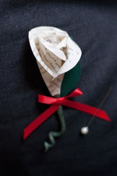 """Book Page Paper Rose Wedding Boutonniere by DiddleBug on Etsy. I wanted to avoid a """"librariany"""" wedding. Origami Wedding, Wedding Paper, Wedding Crafts, Rose Wedding, Wedding Flowers, Wedding Gold, Dream Wedding, Book Page Roses, Diy Boutonniere"""