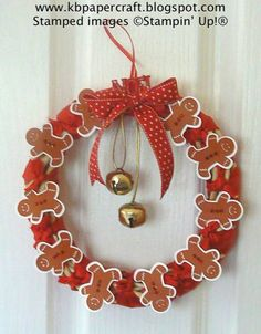 Paper crafter's Gingerbread Man Wreath ....  Stampin' Up!