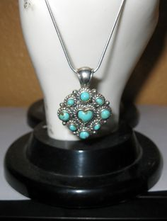 Vintage Turquoise and .925 Sterling Silver Heart Pendent Necklace With Chain - 13 Grams. $30.00, via Etsy.