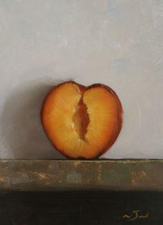Original Oil Painting - Half Apricot - Contemporary Still Life Art - Nelson