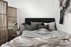 scandinavian style bedroom linen bedlinen grey greige beige divider wall vikvägg