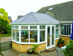 A nice conservatory roof finished with Tapco Pewter Grey.