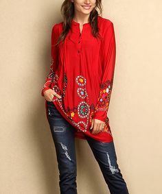 Look what I found on #zulily! Red Garden Notch Neck Pin Tuck Long-Sleeve Tunic - Plus #zulilyfinds