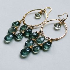 Great Water Hoops  XL Moss Aquamarine Green by delialangan on Etsy, $224.00