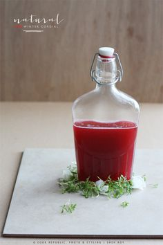 NATURAL RED WINTER CORDIAL     A healthy homemade cordial made with rhubarb, strawberries and lemon.