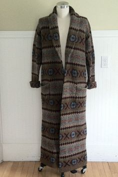 e1428e0a91 RALPH LAUREN SWEATER Fairisle Maxi Wool Polo Indian Blanket Cardigan Beacon  L Aztec Navajo Southwest Hand Knit Serape Tribal American Native