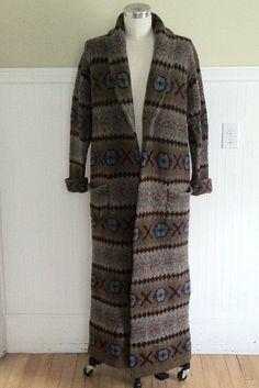 RALPH LAUREN SWEATER Fairisle Maxi Wool Polo Indian Blanket Sweater Beacon L Aztec Navajo Southwest Hand Knit Serape Tribal American Native
