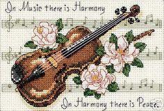 Punto De Cruz Cross Stitch Kit Dimensions Music Is Harmony Roses Violin Notes Cross Stitch Music, Cross Stitch Cards, Counted Cross Stitch Patterns, Cross Stitches, Embroidery Thread, Cross Stitch Embroidery, Embroidery Patterns, Dimensions Cross Stitch, Sewing Crafts