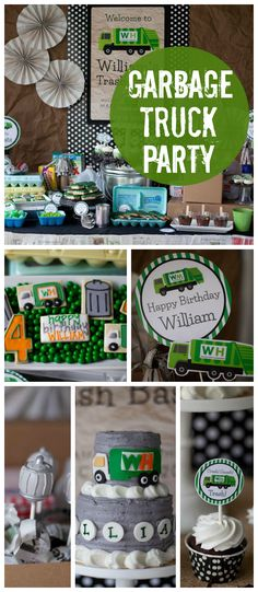 A garbage truck boy birthday party with junk yard juice and building a trash tower! See more party planning ideas at CatchMyParty.com!