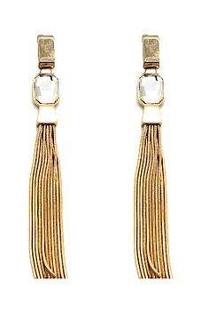 Metal Tassel Gem Earrings