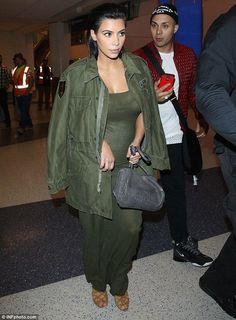 Pregnant Kim Kardashian takes it back to basics in khaki maxi-dress - Kim Kardashian Style