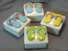 Ceramic Keepsake Box  Customizable Flip Flop Boxes by GrapeVineCeramicsGft