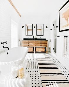 Love love love this bathroom I love the black and white color combo