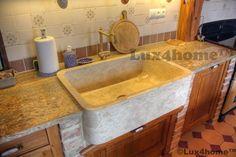 Zlew kuchenny z marmuru. Kuchenne zlewy z kamienia także wykonywane są przez Lux4home™. Ten model to San Marino jednokomorowy zlew kamienny.