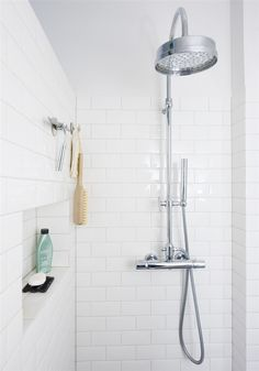 White tile shower + great shower head Laundry In Bathroom, Big Bathrooms, Small Space Bathroom, Bathroom Renos, Bathroom Renovations, Bathroom Inspo, Bathroom Ideas, Laundry Room Inspiration, Bathroom Interior Design