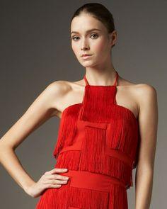 Versace Red Fringed Greek Key Halter Top
