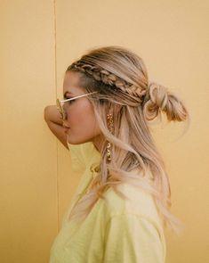 Side braids into half updo by Amber Fillerup