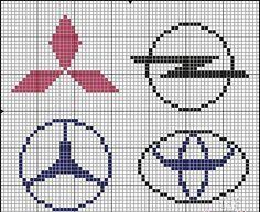 Cars logo x-stitch Embroidery Stitches, Embroidery Patterns, Cross Stitch Patterns, Knitting Charts, Knitting Patterns, Pixel Art, Plastic Bead Crafts, Hama Beads Design, Alpha Patterns