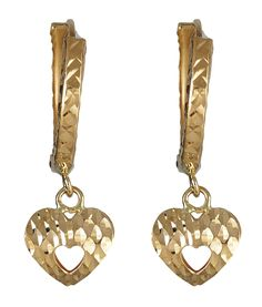 14K Yellow Gold Diamond Cut Open Heart Dangling Huggie Earring. 14K SOLID GOLD: This product is made of solid 14K gold and each piece is carefully trademarked with the metal purity for certification. Each piece is stamped 14K or 585 and guarantees the quality and craft. DESIGN: These diamond cut Dangling Teardrop huggie earring add flavor to any look!. FINISH: Diamond Cut Finish, a clean and classy look. CLOSURE: This item is secured with a hinged lock for added Security. SIZES & COLORS:...