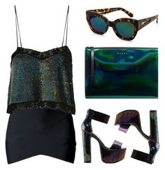 """Greenish"" by baludna ❤ liked on Polyvore featuring Ashish, Jeffrey Campbell, Marni and Karen Walker"