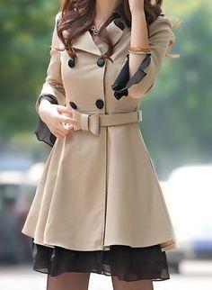 Khaki/ Yellow / Red  Cotton Jacket women's Coat  women dress with belt Autumn Spring--- Love love love ❤️