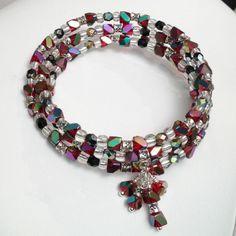 beadwork bracelet, Christmas jewelry, memory wire ruby, black and silver, $25