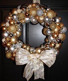 Christmas Ornament Wreath lots of wreaths on here, love so many teach. craft… – Deanna M. Christmas Ornament Wreath, Holiday Wreaths, Holiday Crafts, Holiday Fun, Holiday Decor, Gold Christmas, All Things Christmas, Winter Christmas, Christmas Holidays