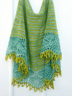Stunning. Cladonia shawl designed by Kristin Kapur, knit by Red Pepper Quilts. The colors are just gorgeous (love Madelinetosh!) and the pattern is fantastic, too.