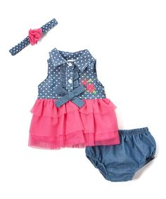 Take a look at this Denim Blue Dot & Fuchsia Heart Three-Piece Set - Infant today!