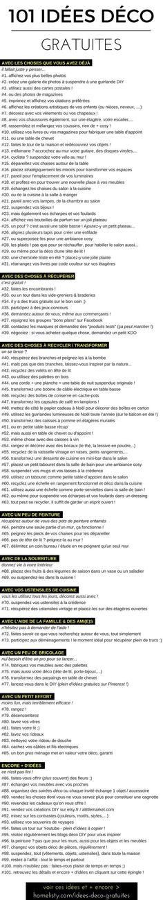 101 Idées Déco GRATUITES (La Liste)http://www.homelisty.com/idees-deco-gratuites/