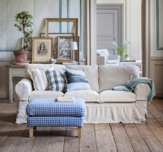 Ektorp 3 Seater Sofa Cover Loose Fit Country Style In Unbleached Rosendal  Pure Washed Linen. Karlstad Footstool Cover In Gingham Check Blue/White.