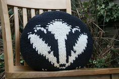 This listing is for a KNITTING PATTERN in PDF format and NOT the actual cushion. Snuggle up on the sofa with this brilliant badger cushion, he is so soft and cuddly! The cushion's diameter is He is knit in 2 pieces using intarsia for th. Knitting Projects, Crochet Projects, Knitting Patterns, Knitted Cushions, Knitted Hats, Super Bulky Yarn, Fair Isle Pattern, How To Purl Knit, Tricot