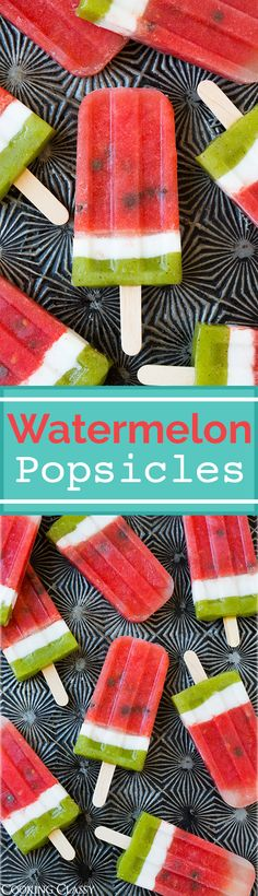 Watermelon Popsicles - these are the most refreshing summer treat! Made with fresh watermelon and kiwi, coconut milk and chocolate chips. Everyone loved them!