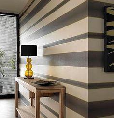 bholmes: Wallpaper - Verve Stripe : Brown Wallpaper : 58221 : Graham & Brown - striped wallpaper - love the different sizes of stripes Grey Striped Walls, Grey Walls, Accent Walls, Stripe Walls, Striped Walls Bedroom, Striped Walls Horizontal, Striped Hallway, Striped Wallpaper, Modern Wallpaper