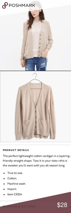 Madewell Spring-Weight Cardigan ✔️Full Length Sleeve ✔️Waffle Texture Front and Sleeve ✔️Double Front Pocket ✔️Cotton ✔️Slightly Longer in Back ✔️No Holes, Stains or Damages Madewell Sweaters Cardigans