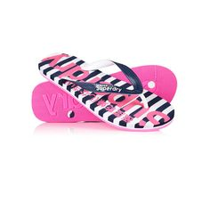 Superdry Eva Stripe Flip Flops (200 SEK) ❤ liked on Polyvore featuring shoes, sandals, flip flops, navy, strap shoes, navy blue flip flops, wet suit, stripe shoes and strappy shoes