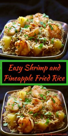 Easy Shrimp and Pineapple Fried Rice - - Rice Recipes Rice Recipes, Seafood Recipes, Asian Recipes, Cooking Recipes, Healthy Cooking, Seafood Dishes, Easy Cooking, Cooking Ideas, Food Ideas