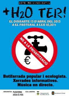 El dissabte 13 d'abril de 2013 les entitats que formem part de la Platafoma aigua és vida organitzem un acte reivindicatiu al Pasteral. Aquesta acció s'emmarca dins les accions de la plataforma per exigir el retorn del cabal de Ter i la gestió pública de l'aigua! Us esperem!!