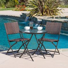 Cantinela 3pc Outdoor Folding Bistro Set -- View the item in details by clicking the VISIT button