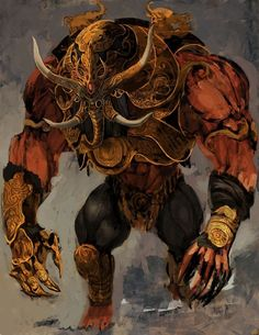 The Charger is a common enemy in Prince of Persia: The Forgotten Sands. A creation of the Sand Army, it was summoned by Ratash after he and his army were released by Malik. The creature was able to destroy a tower simply by ramming at it with its body. Monster Concept Art, Fantasy Monster, Monster Art, Creature Concept Art, Creature Design, High Fantasy, Dark Fantasy Art, Fantasy Creatures, Mythical Creatures