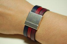 Bracelet femme en cuir boucle magnétique. Woman's leather band with magnetic buckle. contact@northmandesign.com