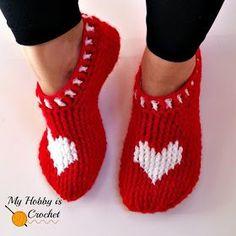 Il mio hobby è Crochet: Heart & Sole Slippers   Donne formato   Gratis Crochet Pattern   Istruzioni scritte e Graph   My Hobby è Crochet