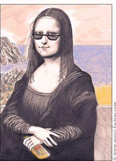 """Carte de vacances """"Mona en vacances à la mer""""  La reprise du tableau le plus connu de la planète dans une version estivale !  Mona Lisa tient dans sa main un tube de crème solaire car elle fait attention à sa peau...  Une carte de bonnes vacances originale et amusante, à envoyer à vos amis durant l'été. http://www.merci-facteur.com/carte-vacances.html Bonne vacances à la plage ! Si elle vous a plus n´hésitez pas: Partager  #monalisa #vacances #humour #lol"""
