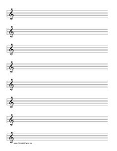 This manuscript paper includes eight rows of five-line musical staff with a treble clef for use in writing music for flute, violin, trumpet, and other instruments. Free to download and print