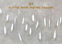 This glitter dipped feather garland crafted up bySmitten on Paperis super dreamy, and has a bohemian glam look to it, while still feeling rustic. We definitely approve!It works great as a garland for an outside wedding or as a background for a photo-booth. Anyway you use it will definitely impress your guests. :) Materials Permanent...